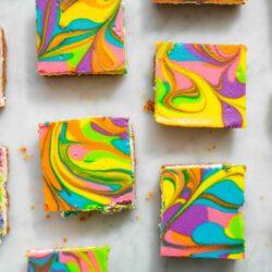 Rainbow Vanilla Cheesecake Bars