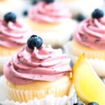 Gluten-Free Lemon Cupcakes with Blueberry Frosting