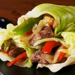 Philly Cheesesteak Cabbage Wraps