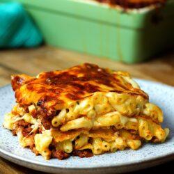 Jalapeño Popper Mac and Cheese Lasagna