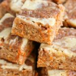 Carrot Cake Blondies with Cream Cheese Swirl