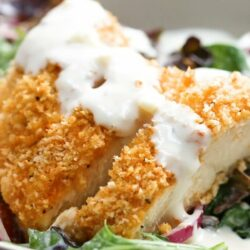 Creamy Garlic Parmesan Crispy Chicken Salad
