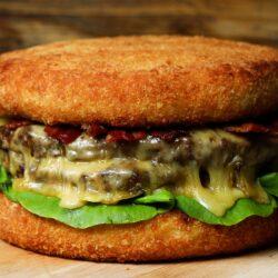 Giant Mac 'N' Cheese Bun Burger