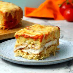 Chicken Parm Spaghetti Pie