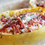 Spaghetti Squash Pepperoni Pizza Boats