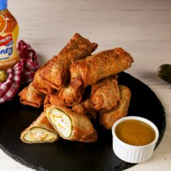 Cheesy Ham & Pickle Egg Rolls