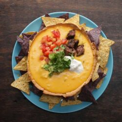 Loaded Queso In A Tortilla Bowl