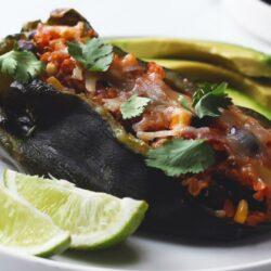 Vegetarian and Black Bean Quinoa Stuffed Poblanos
