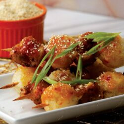 Orange Chicken Kebabs With Fried Sticky Rice Balls