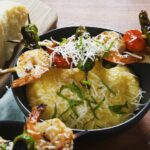 Cheesy Polenta With Grilled Shrimp Skewers