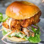 Crispy Chicken Burger with Honey Mustard Coleslaw